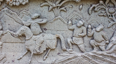 Native molding art on wall in temple, Generality in Thailand, any kind of art decorated in Buddhist church etc  created with money donated by people, no restrict in copy or use