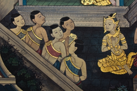 generality: Art thai painting on wall in temple, Generality in Thailand, any kind of art decorated in Buddhist church etc  created with money donated by people, no restrict in copy or use Editorial
