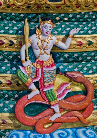 Ancient Thai Fairy angel statue with snakes, Generality in Thailand, any kind of art decorated in Buddhist church etc  created with money donated by people, no restrict in copy or use