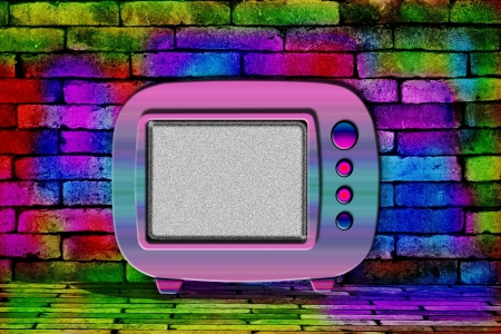 television set in front of brick wall photo