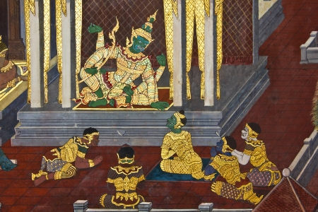 Vintage traditional Thai style art painting on temple for background, Generality in Thailand, any kind of art decorated in Buddhist church etc  created with money donated by people, no restrict in copy or use Stock Photo
