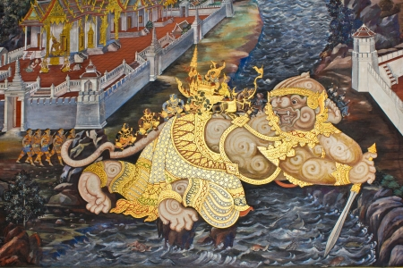 Vintage traditional Thai style art painting on temple for background, Generality in Thailand, any kind of art decorated in Buddhist church etc  created with money donated by people, no restrict in copy or use Editorial