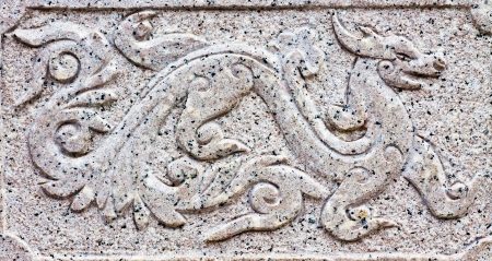 craft on marble: Carved stone dragons