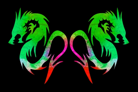colorful dragon isolated on black background photo