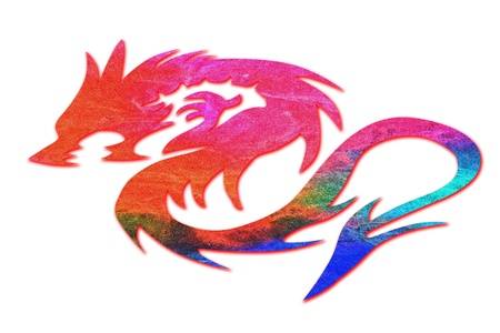 colorful dragon isolated on white background photo