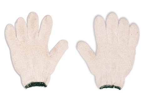 10 fingers: Gloves made of cotton isolated on a white background