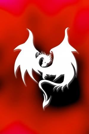 eastern zodiac: White Dragon Stock Photo