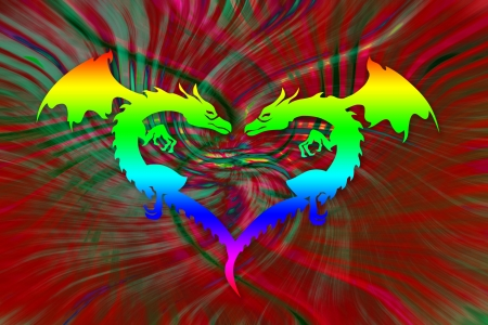 Colorful dragon heart photo