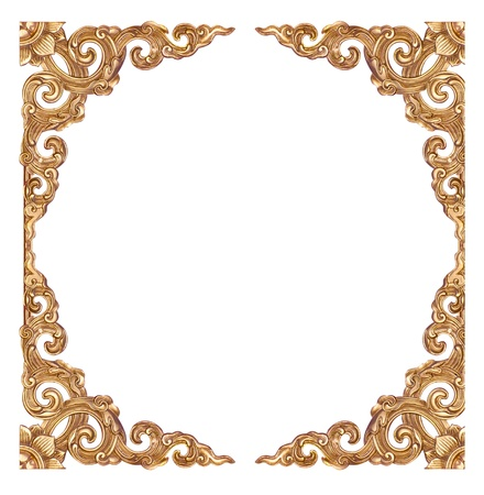 Empty golden vintage frame isolated on white background photo