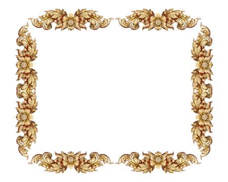 filagree: Empty golden vintage frame isolated on white background