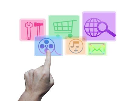 hand pushing colorful application icons isolated on white background Stock Photo - 17907901