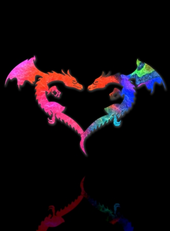 Dragon Heart and shadow isolated on black background  photo
