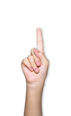 The hand pointing is on the white background Stock Photo - 17997413