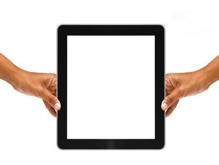 hand holding a tablet Stock Photo - 17997429