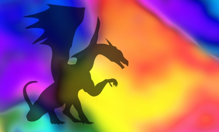black dragon isolated on colorful background Stock Photo - 18027223