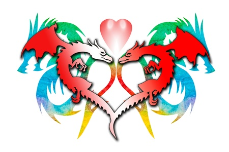 Colorful dragon heart isolated on white background Stock Photo - 18027202