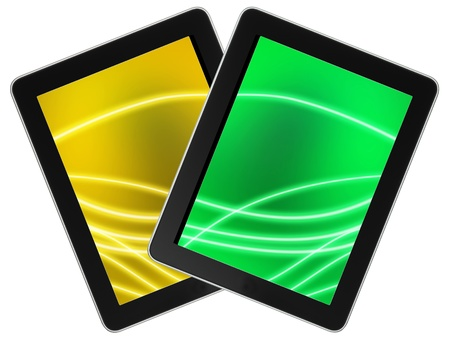 umpc: Touch screen device isolate on white background  Stock Photo