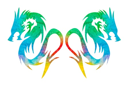 colorful dragon isolated on white background Stock Photo - 18053210
