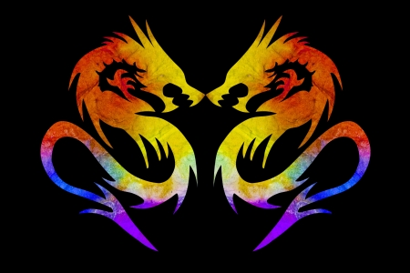 colorful dragon isolated on black background Stock Photo