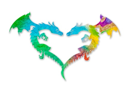 Colorful dragon heart isolated on white background Stock Photo