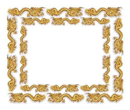 Golden dragon isolated on white background photo