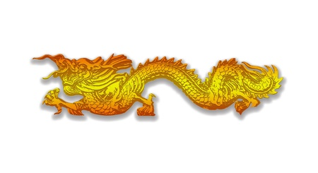 Golden dragon isolated on white background photo