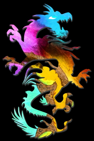 colorful dragon isolated on black background Stock Photo - 18101765