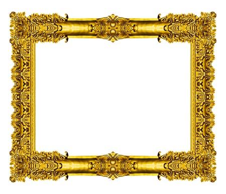 decorative: Cadre vintage doré vide isolé sur fond blanc
