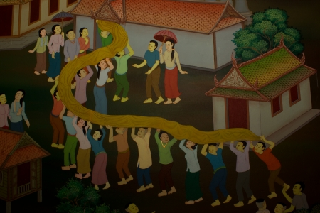 poems: Art thai painting on wall in temple  Stock Photo