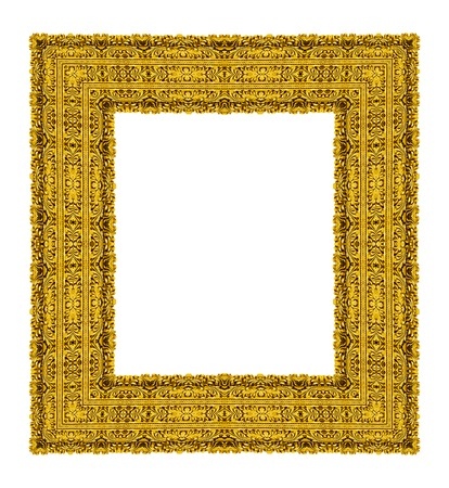 filagree: Empty golden vintage frame isolated on white