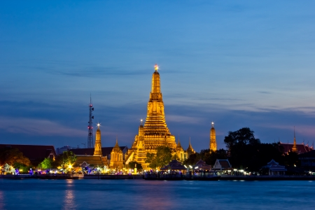 Wat Arun is the fascinating culture  A major tourist attraction in Bangkok, Thailand  photo