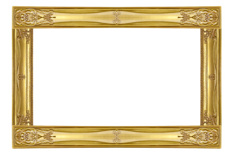 Empty golden vintage frame isolated on white  photo