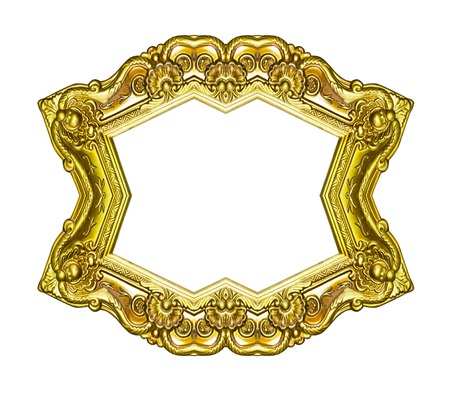filagree: Empty golden vintage frame isolated on white