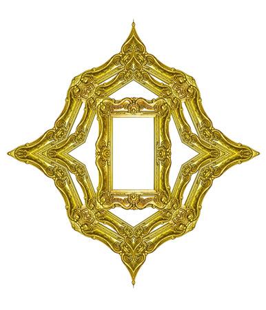 Empty golden vintage frame isolated on white