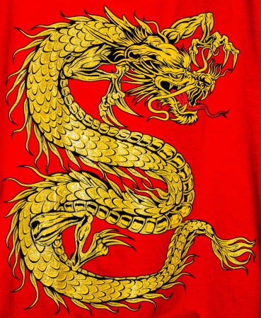 Golden dragon isolated on red  photo