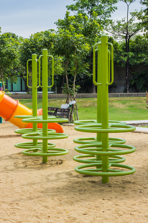 playground equipment: Colorful playground equipment at an outdoor park
