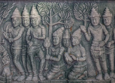 Vintage traditional Thai native art carved in the temple Stock Photo