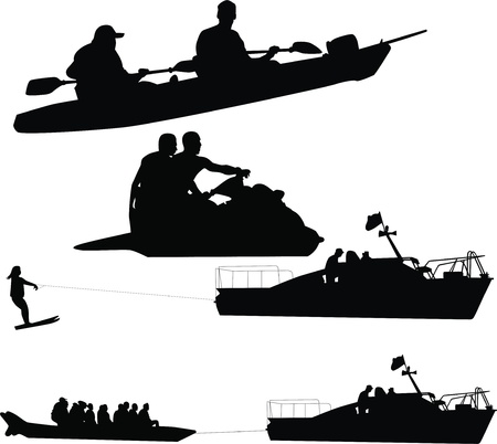 People have rest water sea man boat oar fishing rest sports boat banana  Vector