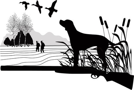hunters: Dogs of a duck hunting the nature Illustration