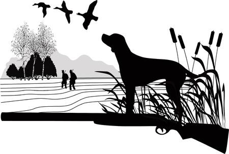 Honden van een eend de jacht op de natuur
