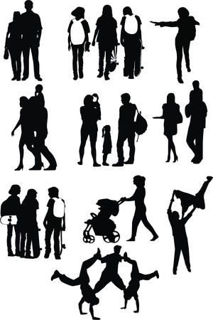 Vector figures of beautiful enamoured people of pairs guys and girls children