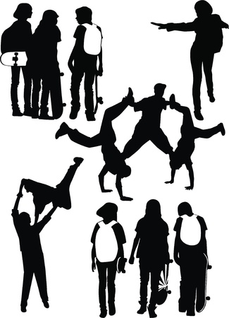 friends teenagers of a hobby Stock Vector - 14262270