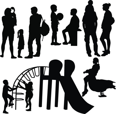 family and children on the Playground Vector