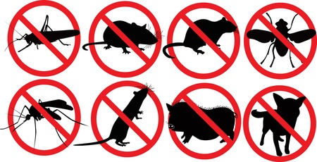 Animal dogs pig rat insects mosquito fly locust sign will lock symbol  Stock Vector - 14322518