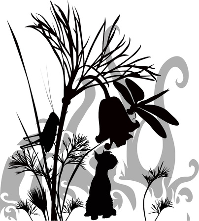 dog in a grass Vector