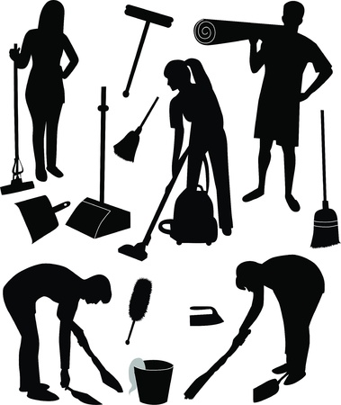 cleaning: Cleaning in house man woman