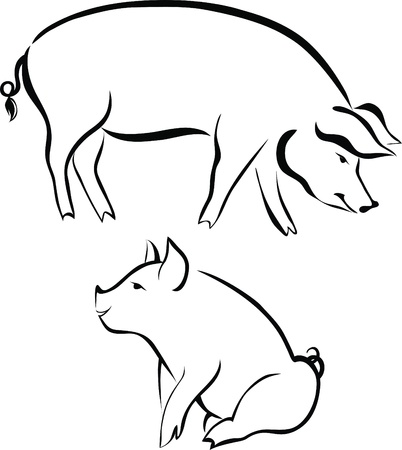Pigs animals farm  Stock Vector - 14407892