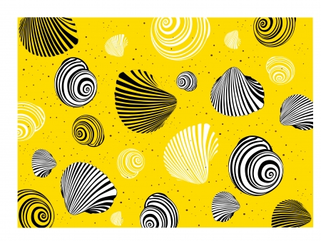 shell of a snail on a yellow background Stock Vector - 14496675