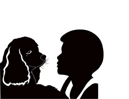 american cocker spaniel: boy with a dog