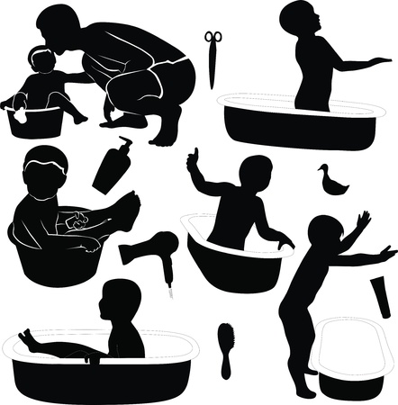 dad bathe your child family Vector